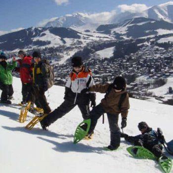Ruta con raquetas de nieve con niños por Madrid